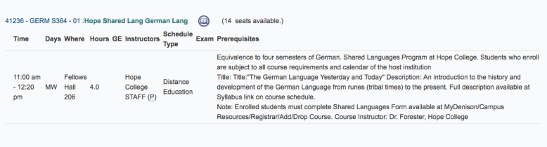 SLP German Hope Course Listing